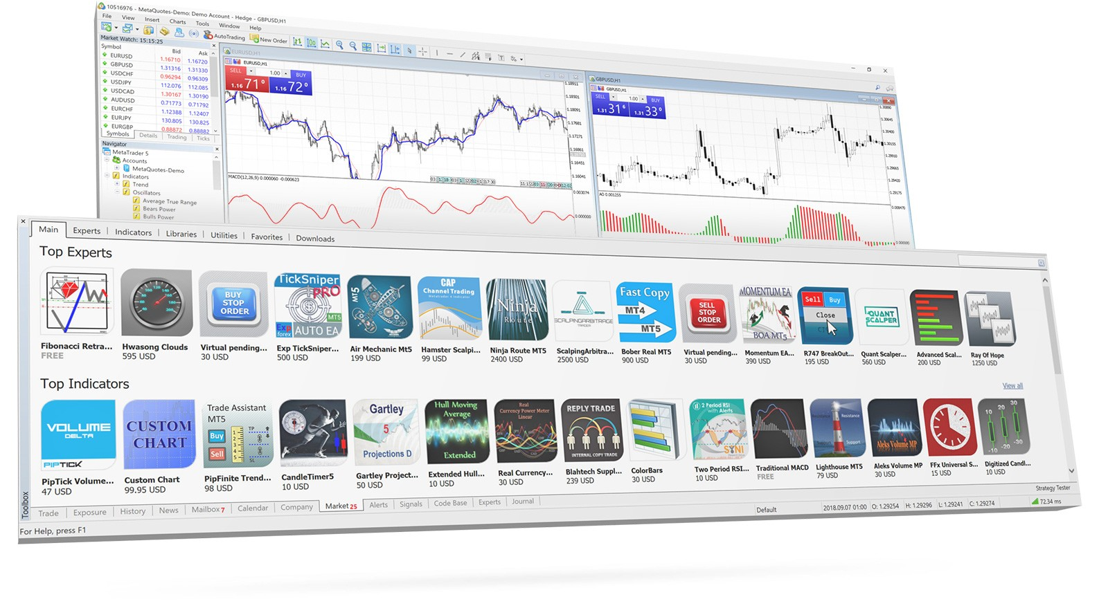 4,800 robots, 6,500 indicators, 2,400 utilities and other solutions in the MetaTrader Market