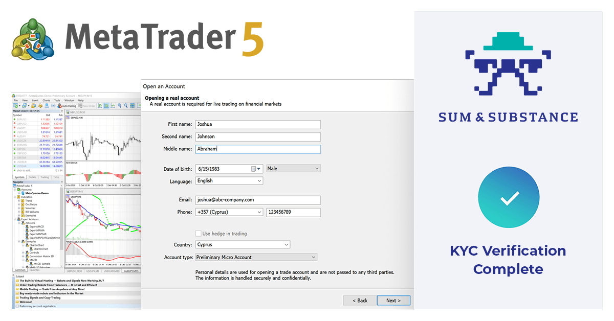 Trader KYC verification from Sum&Substance in MetaTrader 5