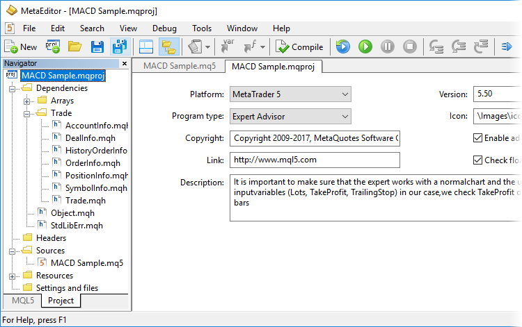 MetaTrader 5 Build 1730: projects in MetaEditor and Synthetic