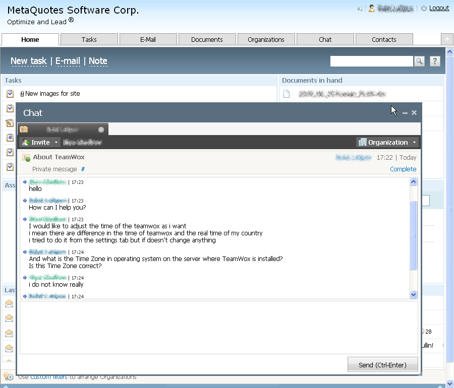 The TeamWox Groupware Chat is a convenient and save place for quick communication. With this chat, you can contact any of your colleagues, solve problems and be sure that the confidential information stays within your company. Besides, Chat is a ready solution for a technical support department. Online Assistant of this website also operates based on such chat.