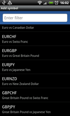 MetaTrader 5 Android: Add Symbols