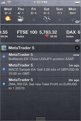 Push-уведомления от MetaTrader 5 на экране iPhonee