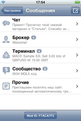 5 категорий сообщений в MetaTrader 5 for iPhone