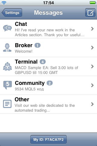 Classification of Messages in MetaTrader 4 iPhone