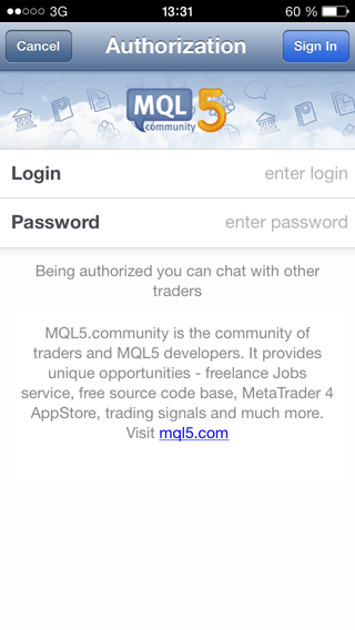 Entering MQL5.com right via the mobile platform