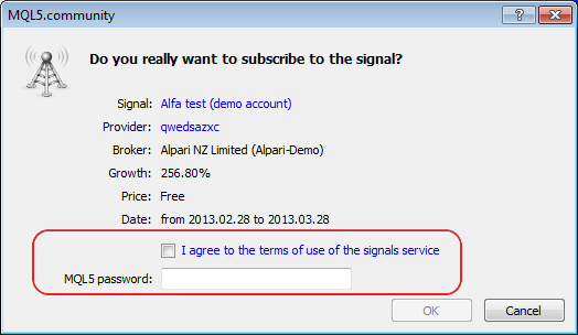 Revised the signal subscription dialog, added the link for subscription conditions and the additional requirement to enter MQL5.com