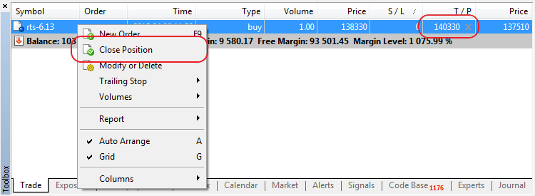 When One-Click Trading mode is enabled, Close Position command in the position's context menu results in an immediate closing of the position without showing the trading dialog