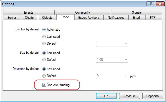 При включенном режиме One Click Trading команда Close в контекстном меню позиции приводит к немедленному закрытию позиции без дополнительного показа торгового диалога