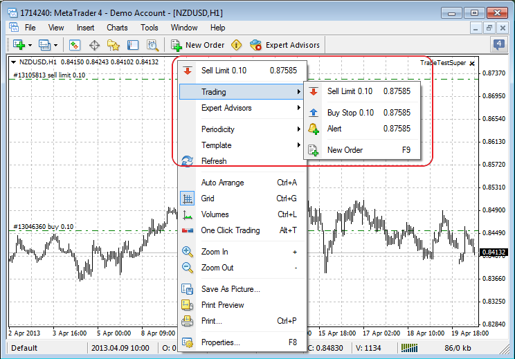 Revised the context menu of trading from the chart, added ability to set alerts right from the chart