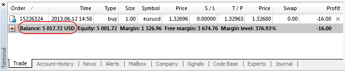 Added currency display in the client account's status bar
