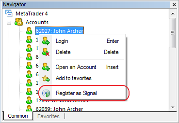 Added command for registering a trading signal bound to the allocated account on MQL5 web site to the trading account's context menu of the Navigator window
