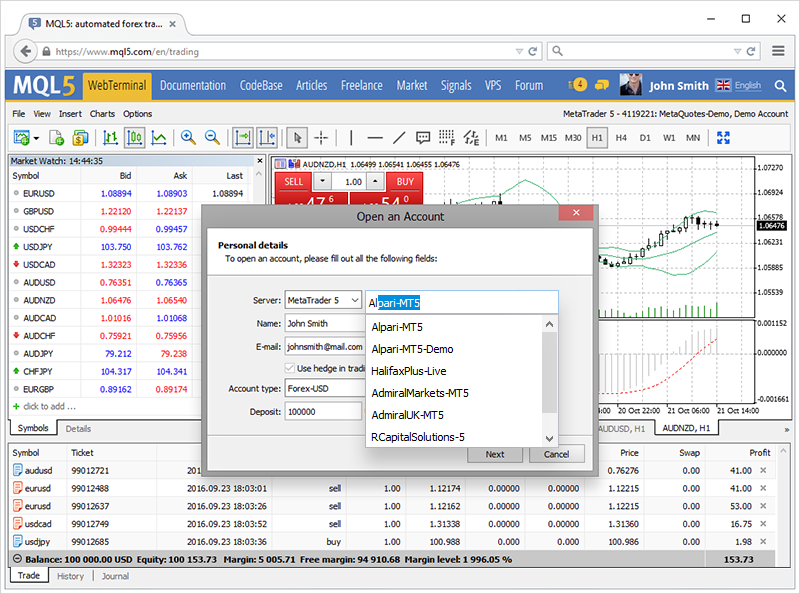 Try the updated web terminal on MQL5.com