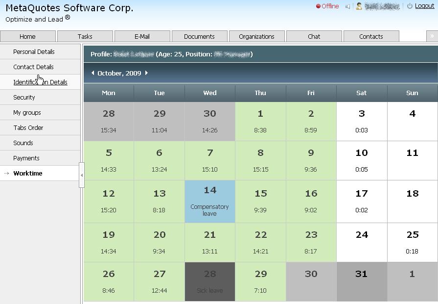 TeamWox автоматически ведет учет рабочего времени сотрудника, что облегчает контроль сотрудников. Эту информацию можно просмотреть в любой момент и по любому сотруднику.