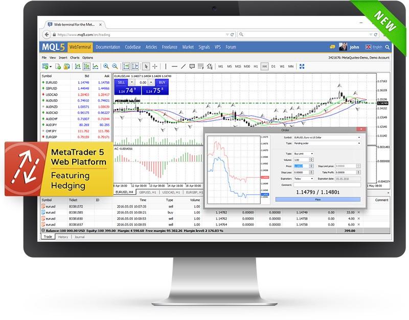 通过您的浏览器在MetaTrader 5中交易 — 网络平台测试版已发布